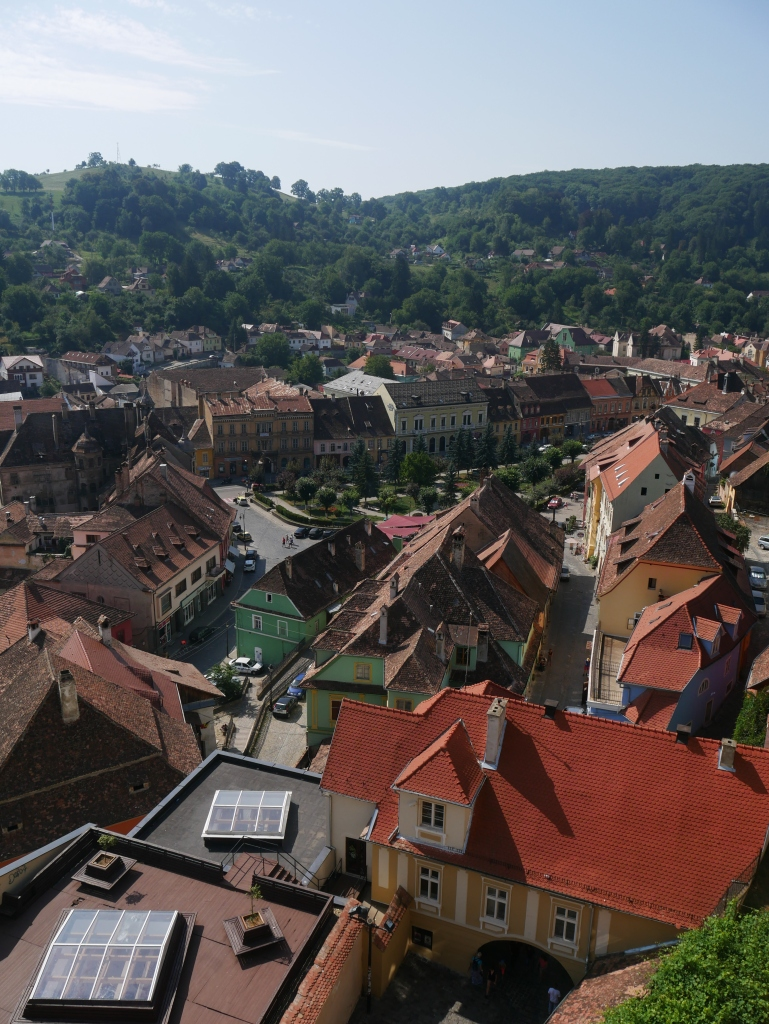 Roumanie, Sighișoara, Vue de la tour de l'horloge