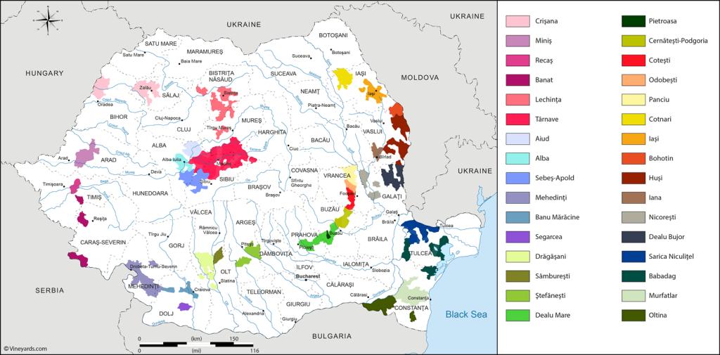 Roumanie - Carte des vignobles